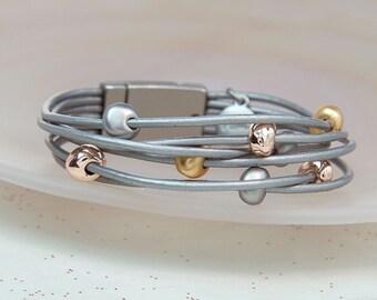 Personalised Grey Leather Mixed Metallic Bead Bracelet