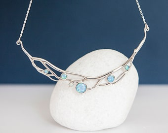 Sterling Silver Molten Collar Necklace with Six Opals