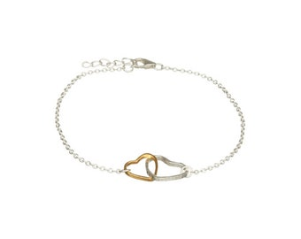 Personalised Double Heart Bracelet * Sterling Silver * Stacker Bracelet * Dainty * Minimalist * Personalised Gift * Slim Skinny Jewelry *
