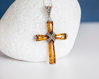 Sterling Silver Strapped Cross Pendant Necklace with Baltic Amber