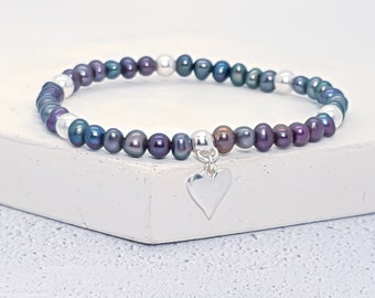 Sterling Silver and Freshwater Black Pearl Bracelet for Women * Personalised with 40 Characters * Adjustable Stretch Stacking Bead Bracelet