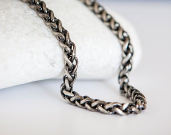 Sterling Silver Oxidized Spiga Wheat Chain Necklace - 20 22 24 Inch