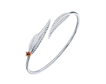 Sterling Silver and 18ct Rose Gold Leaf Bracelet for Women * Personalized with 40 Characters * Leaf Bangle * Nature Jewelry