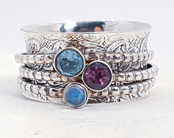 UK O Personalised Amethyst, Topaz, Moonstone Spinner Ring * Sterling Silver * Boho * Anxiety, Meditation, Worry, Spinning Jewelry * Spin, Fi