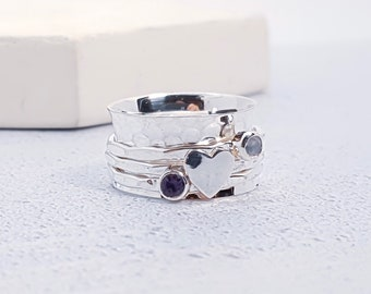 Sterling Silver Spinner Ring for Women * Wide Band * Custom Thumb Ring * Moonstone Heart Design *