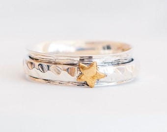 Sterling Silver Spinner Ring for Women * Personalized With Up To 10 Characters * Slim Band * Custom Thumb Ring * Brass Star Design *
