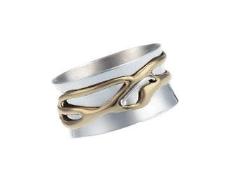 Personalized Sterling Silver Spinner Ring for Women or Men * Wide Band * Custom Thumb Ring * Organic Fluid Design *