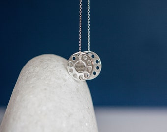 Sterling Silver Bobbin Pendant Necklace