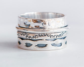 Sterling Silver Spinner Ring for Women * Personalized With Up To 10 Characters * Wide Band * Custom Thumb Ring * Mixed Textured Finish *