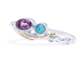 Personalized Sterling Silver Purple Amethyst and Blue Opal Gemstone Ring for Women