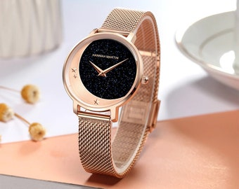 Personalised Rose Gold Moon Watch with Black Sparkle Star Dial