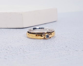 Sterling Silver Spinner Ring for Women * Personalized With Up To 10 Characters * Slim Band * Custom Thumb Ring * Sky Blue Topaz Gemstone *