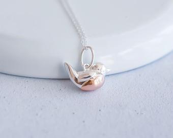 Sterling Silver Robin Necklace for Women or Girls * Robin Redbreast Bird Pendant Design