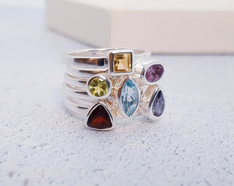 Sterling Silver Gemstone Stacking Ring Set for Women * Personalized 40 Characters *  Blue Topaz, Amethyst, Peridot, Citrine, Garnet, Iolite