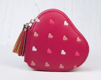 Personalised Pink Faux Leather Coin Purse with Embroidered Hearts and Tassel