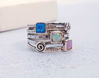 Sterling Silver Pink, Green and Blue Opal Ring for Women * Personalized With Up To 40 Characters * Organic Gemstone Ring *