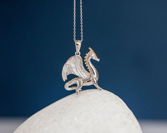 Sterling Silver and 18ct Gold Standing Dragon Pendant Necklace
