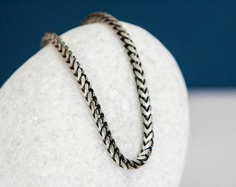 Sterling Silver Oxidized Snake Chain Bracelet