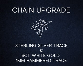 Chain Upgrade 1mm Hammered Cable Trace Chain * 16 18 20 24 inches * Solid 9ct White Gold * Best for Women, Girls