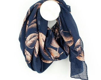 Personalised Navy Blue Scarf with Metallic Rose Gold Leaf Print - 70cm x 175cm