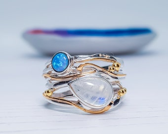 US 8 | UK P | EU 56 Personalized Sterling Silver Moonstone and Blue Opal Ring for Women * Organic Gemstone Ring