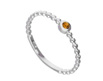 Personalized Sterling Silver and Citrine Cubic Zirconia Beaded Stacking Ring - November Birthstone