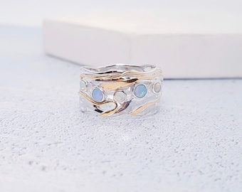 Sterling Silver Blue and White Opal Ring for Women * Personalized With Up To 40 Characters * Organic Gemstone Ring *