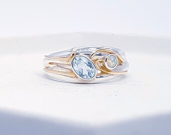 Sterling Silver Sky Blue Topaz and White Opal Ring for Women * Personalized With Up To 40 Characters * Organic Gemstone Ring *