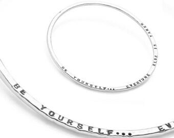 Amira * Personalised Bangle * Sterling Silver * Word Bracelet * Hand Stamped * Custom Word Bracelet * Custom Jewelry * Family * Wedding