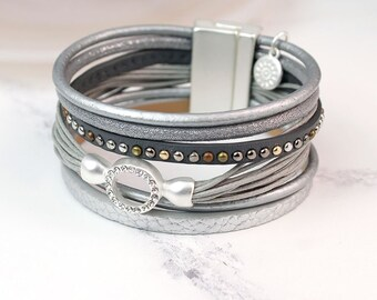 Personalised Metallic Grey Leather Bracelet with Crystal Hoop