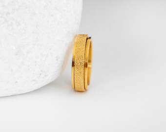 Stainless Steel Spinner Ring with Sandblasted Yellow Gold Finish