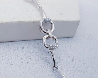 Sterling Silver Horse Bit Bracelet for Girls or Women * Snaffle Bit Equestrian Jewelry * Cubic Zirconia