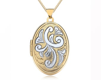 9ct Yellow and White Gold Oval Locket Pendant Necklace