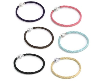 4.5mm Italian Leather Bracelet * 7 inches * Sterling Silver * Ideal for Bead Charms *