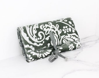 Personalised Grey Velvet and Silver Paisley Jewellery Wrap