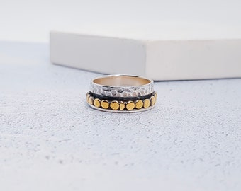 UK M / US 6 Dotty Spinner Ring * Sterling Silver * Boho * Anxiety, Meditation, Worry, Spinning Jewelry * Spin, Fidget