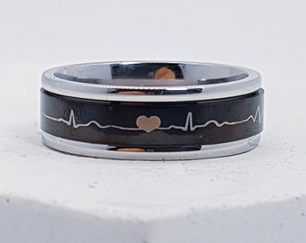 UK S Personalised Heartbeat Spinner Ring * Stainless Steel