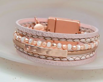 Personalised Pink Leather and Rose Gold Beads Bracelet