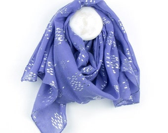 Personalised Bright Blue Scarf with Metallic Silver Fish Print - 70cm x 180