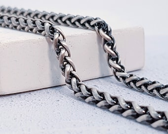4mm Oxidised Wheat Chain for Men * 20 22 24 inches * Sterling Silver *
