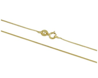 1mm Box Chain * 16 18 20 inches * 9ct Yellow Gold