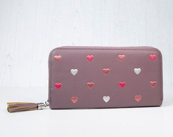 Personalised Mulberry Pink Faux Leather Purse with Embroidered Hearts and Tassel