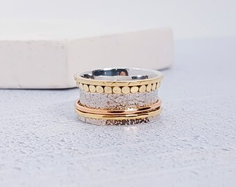 UK Q / US 8 Sterling Silver Spinner Ring for Women * Wide Band * Custom Thumb Ring * 14ct Gold Vermeil *