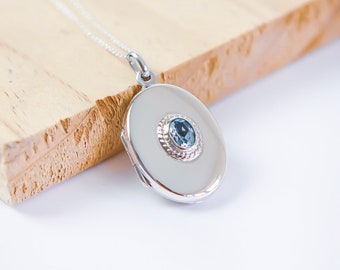 Sterling Silver Blue Topaz Locket Necklace * Personalized with 40 Engraved Characters * 2 Picture Photos * Memorial Keepsake * Mourning