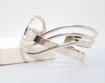 Sterling Silver Crossover Torc Bangle Bracelet