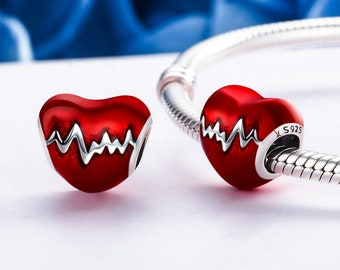 Heartbeat Charm Bead * Sterling Silver * 4.5mm Inner Diameter * Fits most European Charm Bracelets