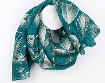 Personalised Teal Scarf with Metallic Silver Leaf Print - 70cm x 175cm