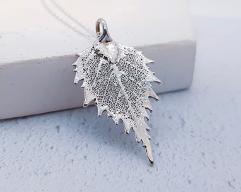 Sterling Silver Birch Leaf Necklace for Women or Girls * Personalized with 40 Characters * Genuine Electroplated Leaf Nature Pendant