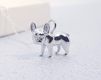 Sterling Silver French Bulldog Necklace for Men or Women * Personalized with 40 Characters * Frenchie Dog Animal Pendant Design