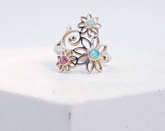 Sterling Silver Opal Flower Ring for Women * Personalised with 40 Characters * Gemstone Nature Ring Design